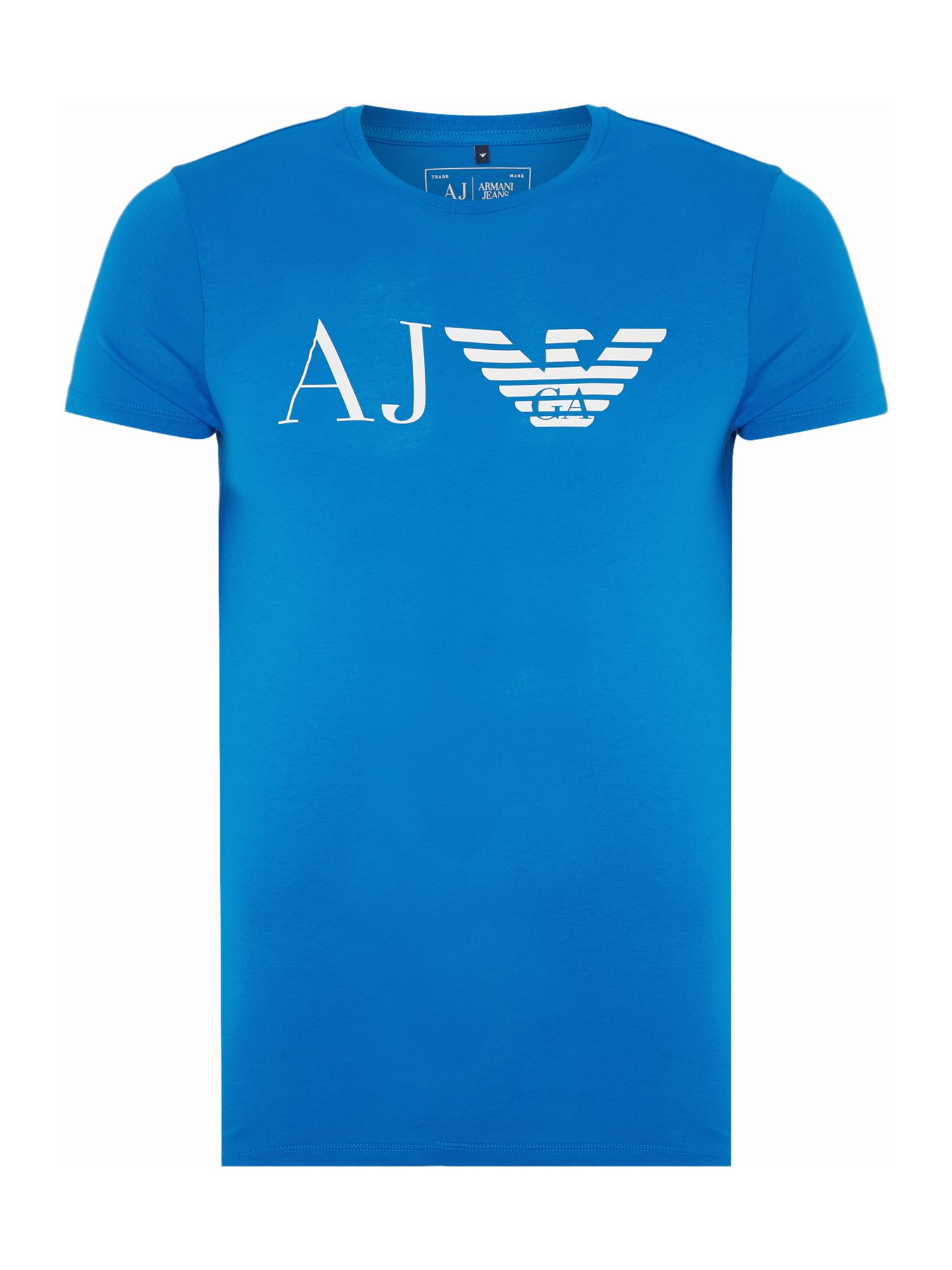 Mens Armani Jeans Regular fit AJ eagle logo printed t shirt Bright Blue