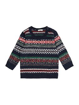 Boys Multi Colour Fairisle Crewneck