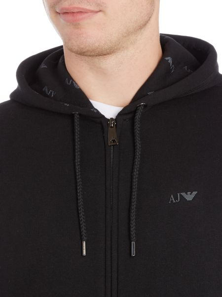 Armani Jeans Zip through hoodied small logo sweat top