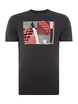 Regular fit square logo printed t shirt