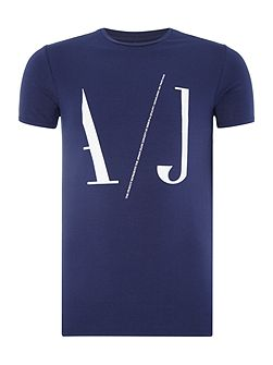 Regular fit large AJ logo printed t shirt