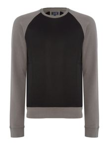 Armani Jeans Mesh detail crew neck sweat jumper