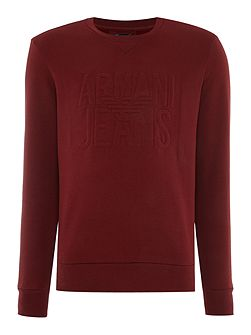 Large embossed logo crew neck sweat jumper