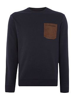 Contrast pocket logo crew neck sweat jumper