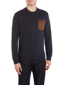 Armani Jeans Contrast pocket logo crew neck sweat jumper