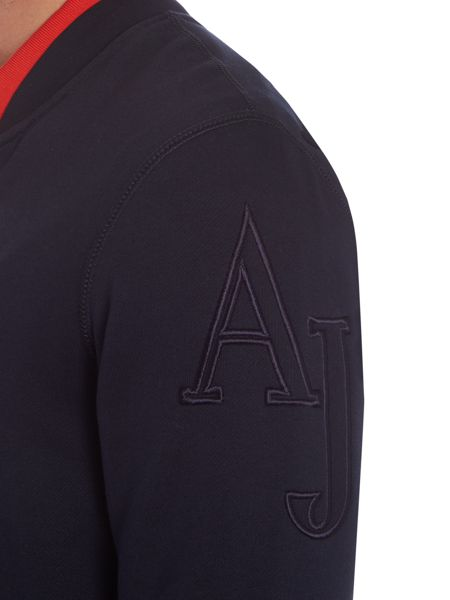 Armani Jeans Leather pocket crew neck sweat jumper