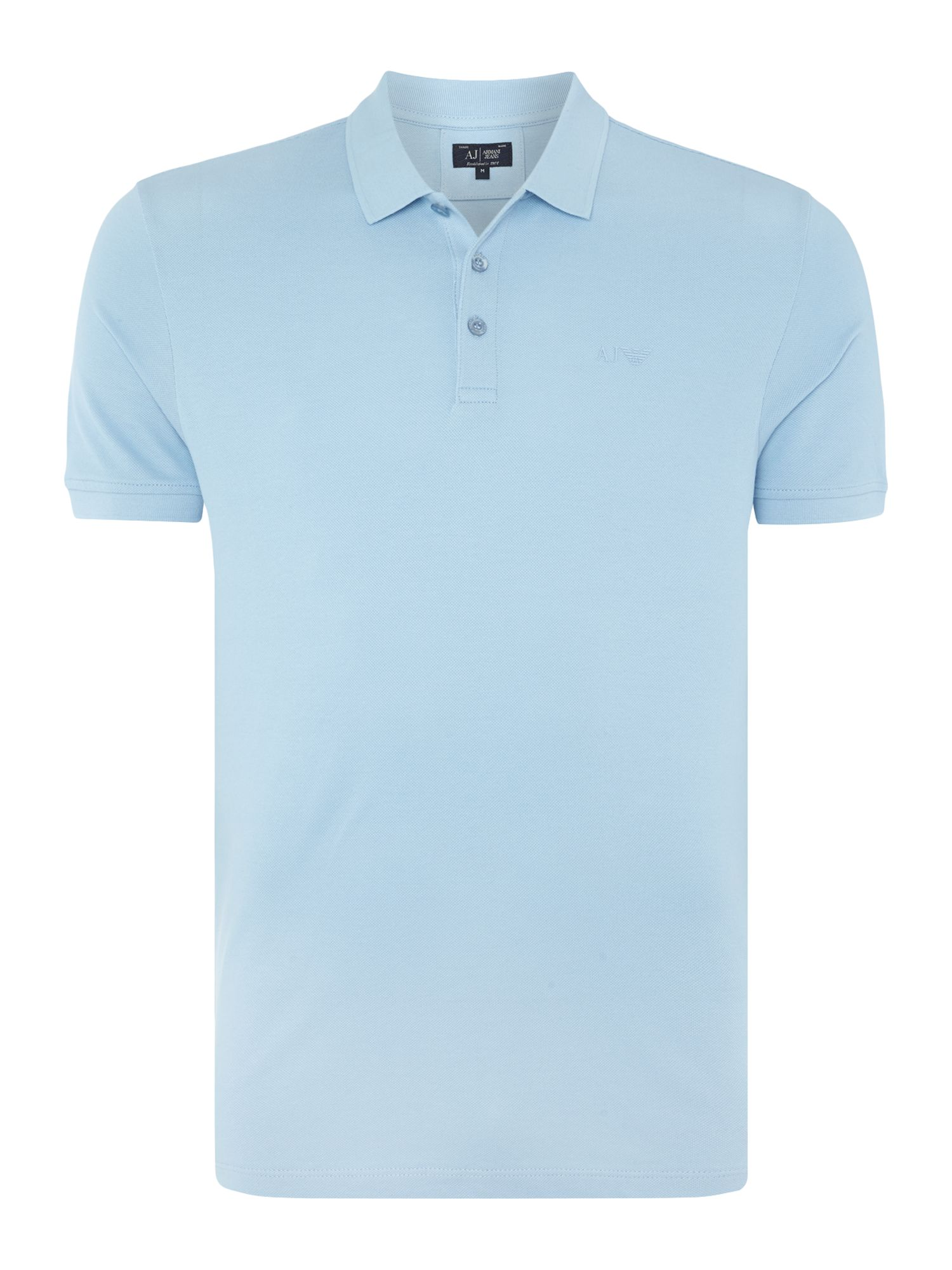 Men's Armani Jeans Regular fit short sleeve logo polo shirt, Sky