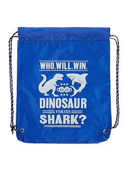 Boys Shark vs Dinosaur Reflective Drawstring Bag