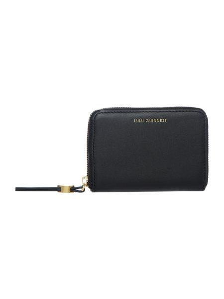 Lulu Guinness Blk sml smooth continental wallet