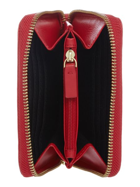 Lulu Guinness Red sml smooth continental wallet