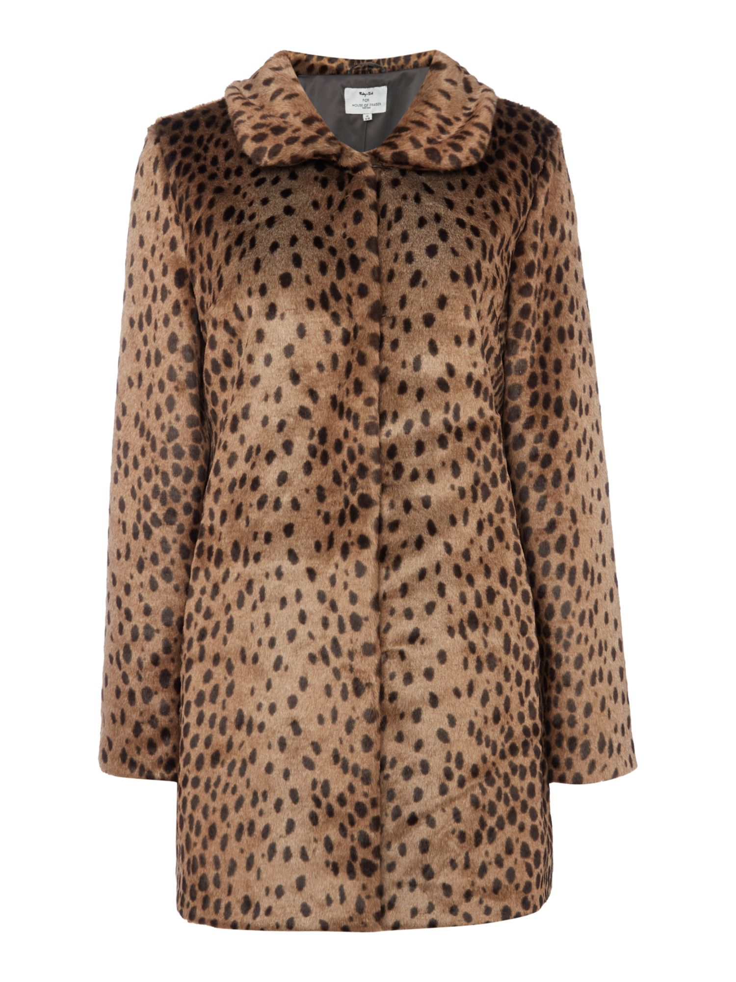 Ruby + Ed Faux Fur Collar Coat, Leopard