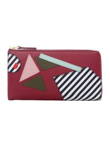 Lulu Guinness Blk pop out girl leather continental wallet