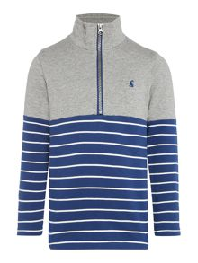 Joules Boys Contrast Stripe Half Zip Sweater