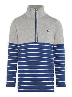 Boys Contrast Stripe Half Zip Sweater