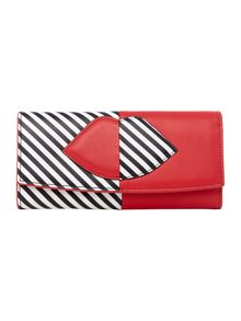 Lulu Guinness Multi 50:50 stripe lip beth wallet