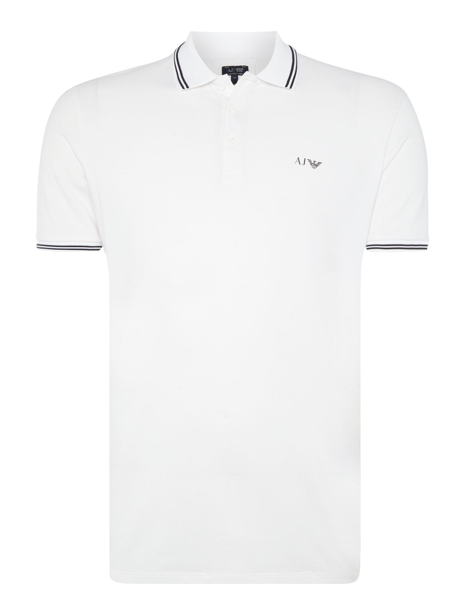 Men's Armani Jeans Regular fit tipped logo polo, White