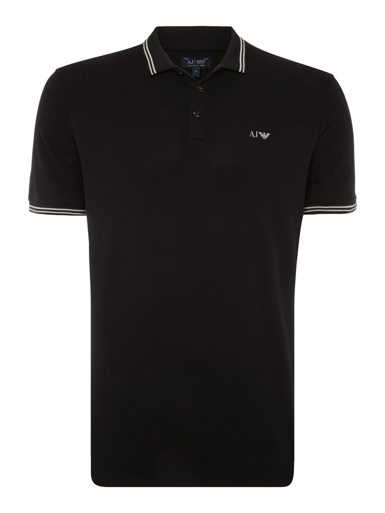 Men's Armani Jeans Regular fit tipped logo polo, Black