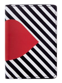 Lulu Guinness Multi 50:50 stripe lip card holder