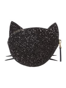 Lulu Guinness Blk glitter kooky cat coin purse