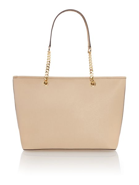 Michael Kors Jetset chain tan top zip tote bag