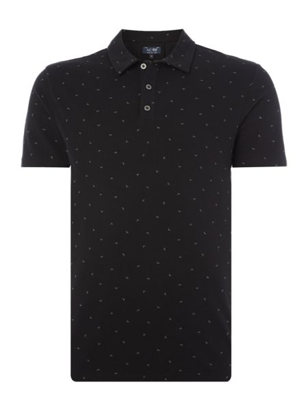 Armani Jeans Regular fit all over small eagle print polo
