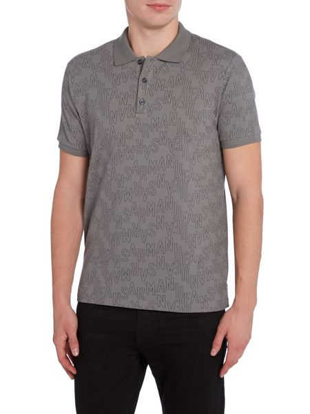 Armani Jeans Regular fit all over large logo print polo