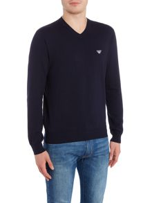Armani Jeans V neck embroidered eagle logo jumper