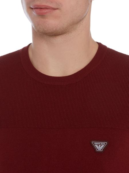 Armani Jeans Crew neck embroidered logo jumper