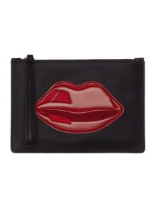 Lulu Guinness Blk med red lips pouch