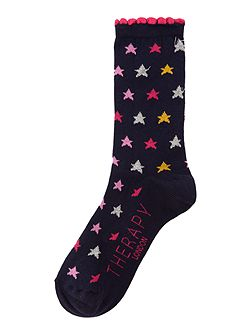 Multi metallic star socks