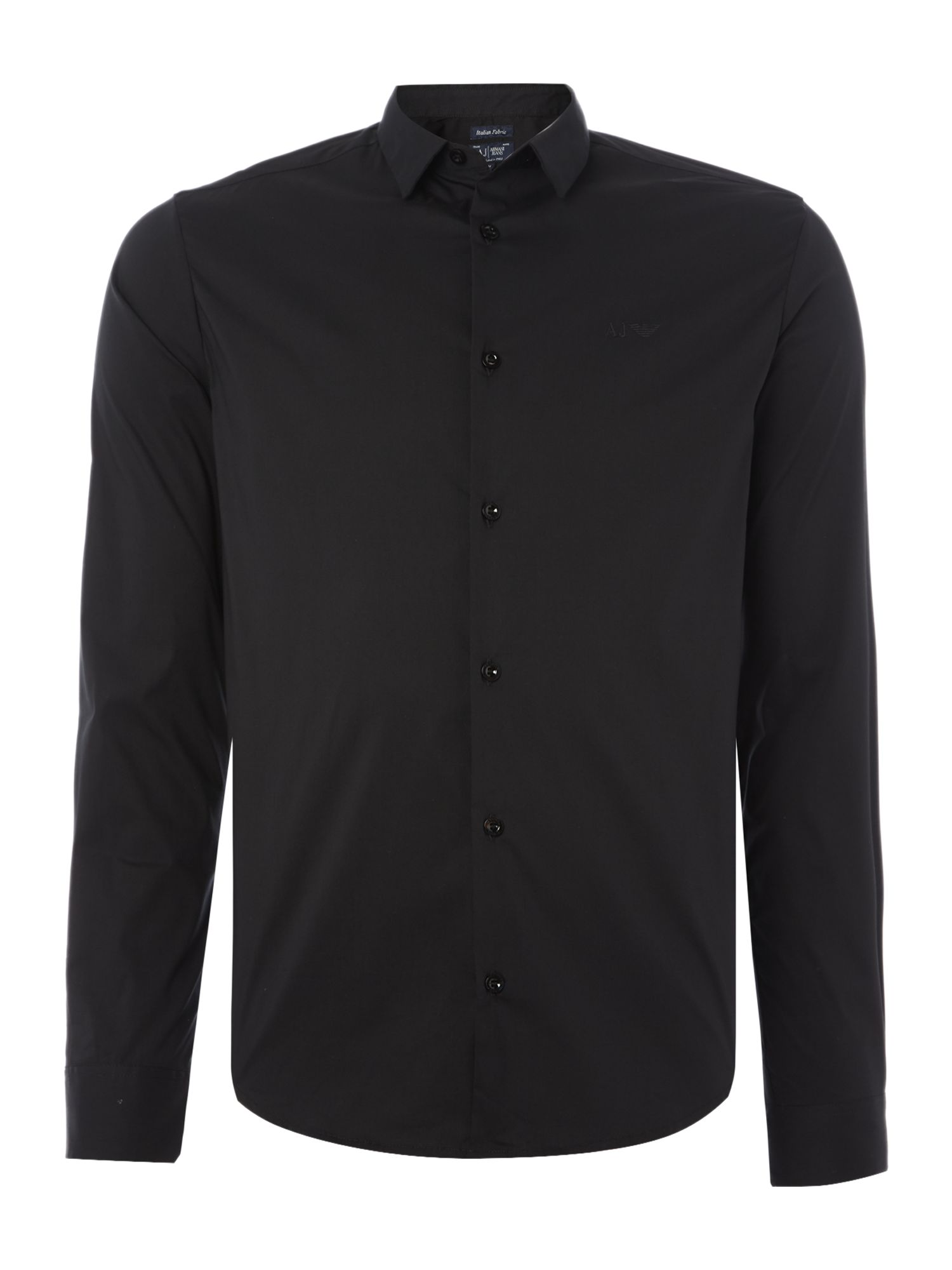 Mens Armani Jeans Regular fit long sleeve stretch poplin shirt Black