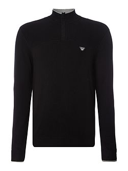 1/4 zip neck embroidered logo jumper