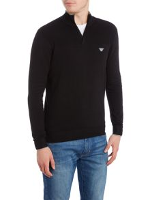 Armani Jeans 1/4 zip neck embroidered logo jumper