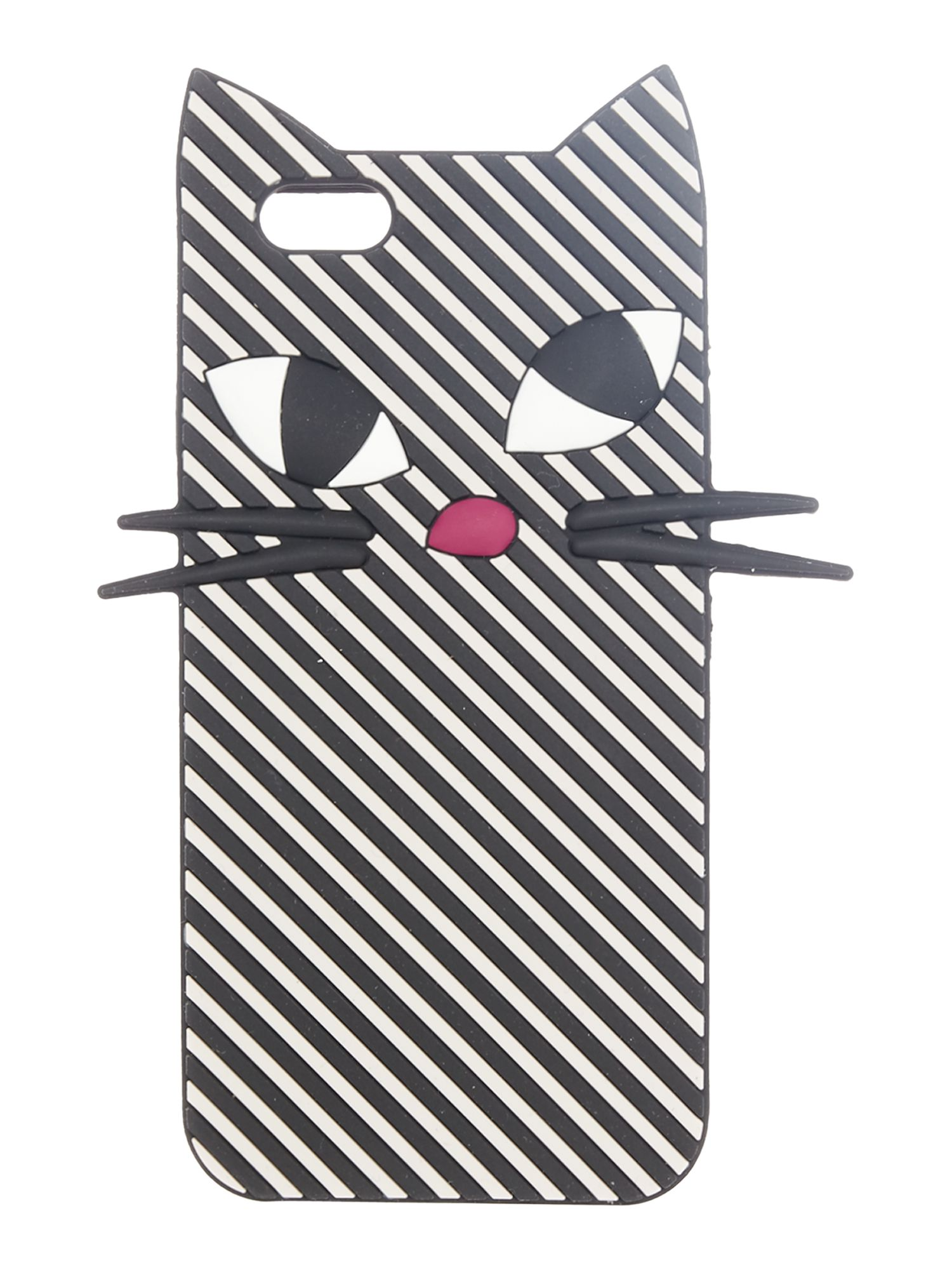 Lulu Guinness Mono stripe kooky cat iphone 6 case, Black