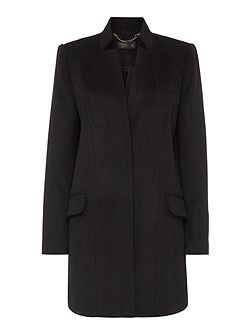 Stand collar single breasted coat