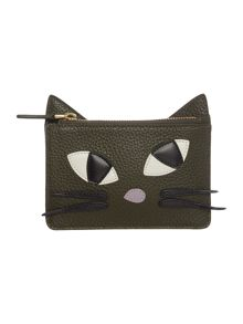 Lulu Guinness Grn sml kooky cat leather lottie pouch