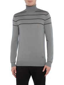 Armani Jeans Roll neck stripe logo silk mix jumper