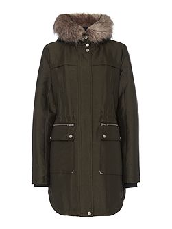 Sporty Double Front Faux Fur Parka