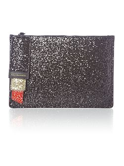 Blk med glitter red lipstick clutch bag