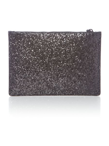 Lulu Guinness Blk med glitter red lipstick clutch bag