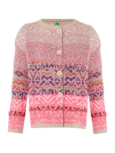 Benetton Girls Long Sleeve Button Up Cardigan