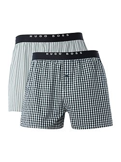 2 Pack Check and Stripe Woven Boxers
