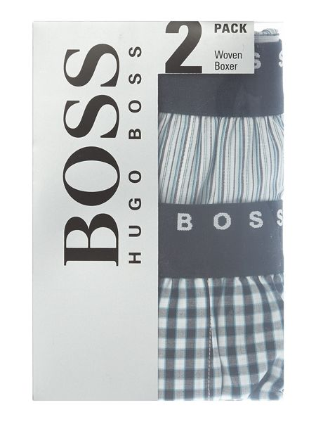 Hugo Boss 2 Pack Check and Stripe Woven Boxers
