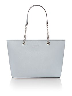 Jetset chain blue top zip tote bag