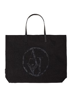 Nylon and patent black foldup tote bag