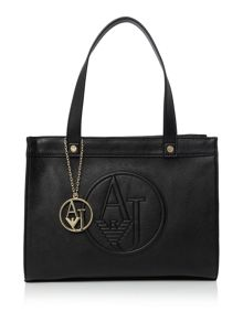 Armani Jeans Eco leather black medium tote bag