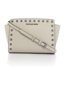 Michael Kors Selma grey stud cross body bag