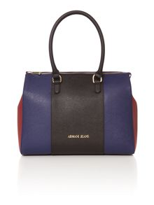 Armani Jeans Navy multi stripe tote bag