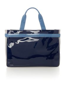 Armani Jeans Navy patent tote bag