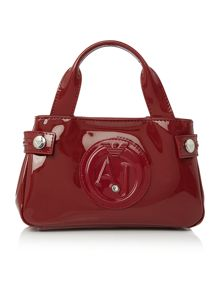 Armani Jeans Red small patent tote bag